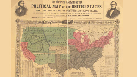 This 1854 map shows slave states (grey), free states (red), and US territories (green) with Kansas in center (white)