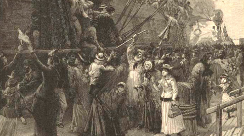 Irish fleeing aboard ships